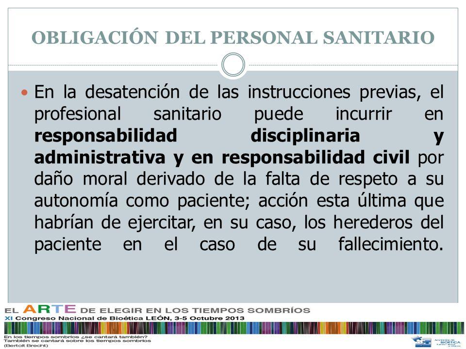 OBLIGACIÓN DEL PERSONAL SANITARIO