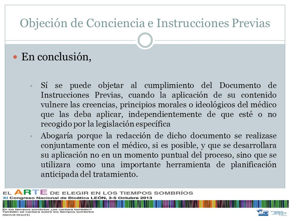 Objeción de Conciencia e Instrucciones Previas