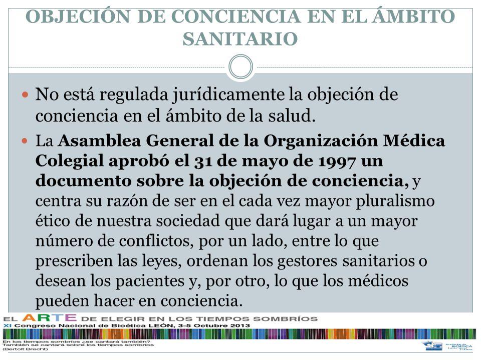 OBJECIÓN DE CONCIENCIA EN EL ÁMBITO SANITARIO