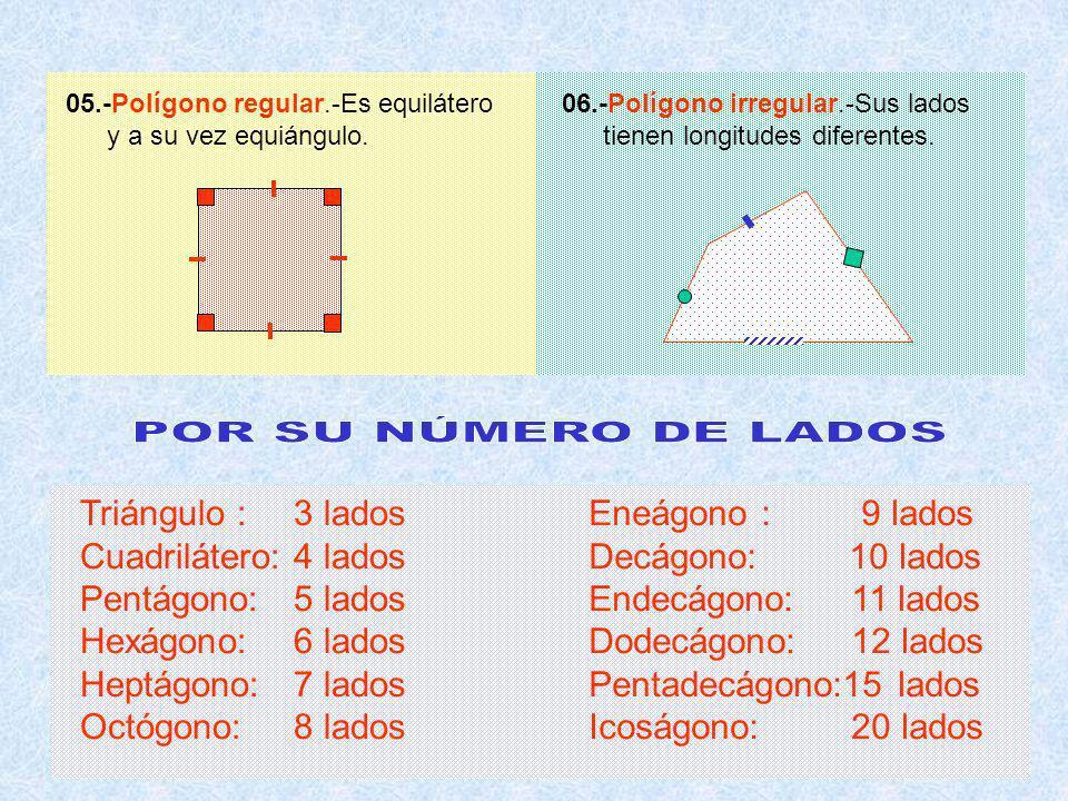 05.-Polígono regular.-Es equilátero y a su vez equiángulo.