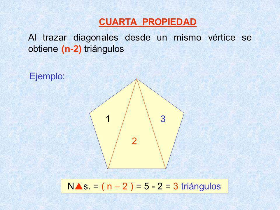 Ns. = ( n – 2 ) = 5 - 2 = 3 triángulos