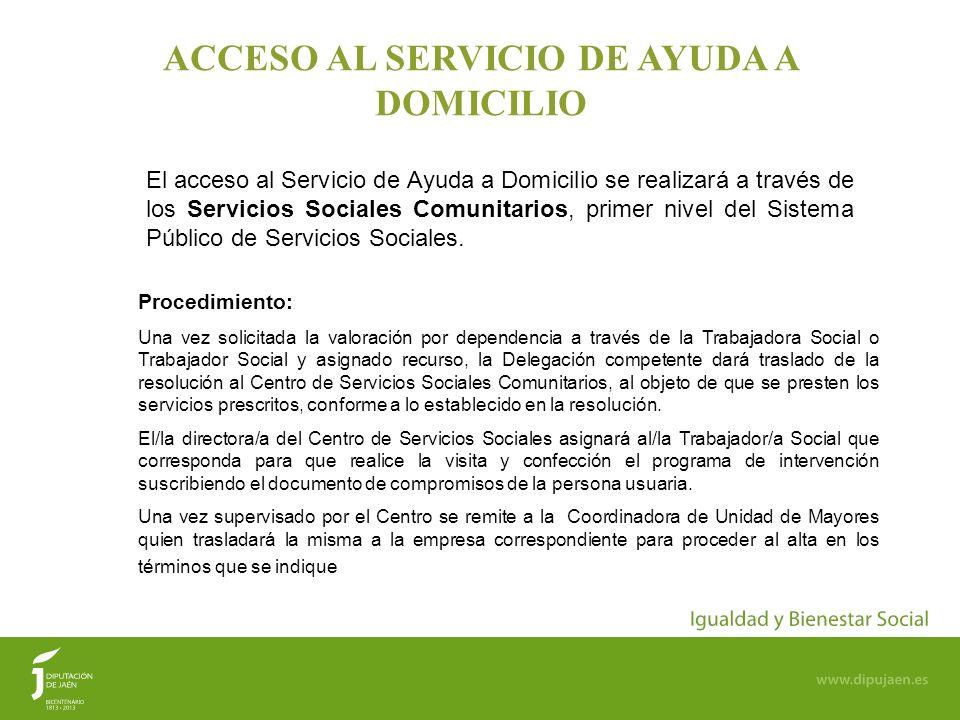 ACCESO AL SERVICIO DE AYUDA A DOMICILIO