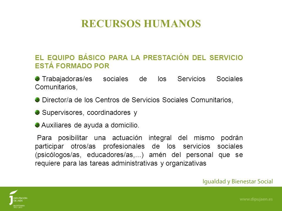 RECURSOS HUMANOS EL EQUIPO BÁSICO PARA LA PRESTACIÓN DEL SERVICIO ESTÁ FORMADO POR.