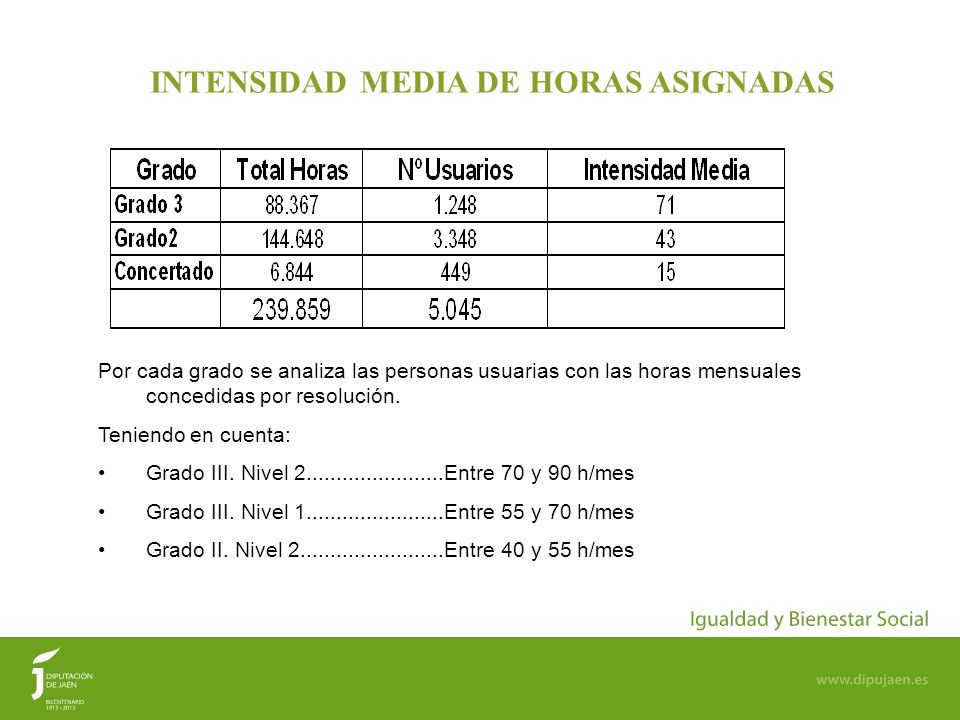 INTENSIDAD MEDIA DE HORAS ASIGNADAS