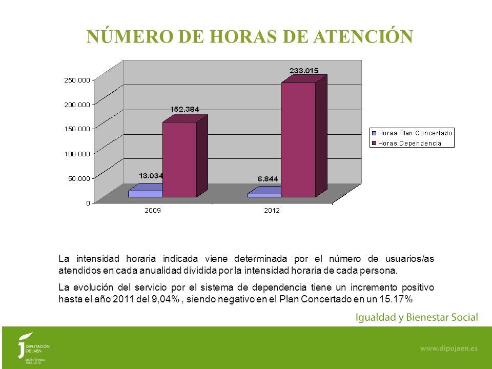 NÚMERO DE HORAS DE ATENCIÓN