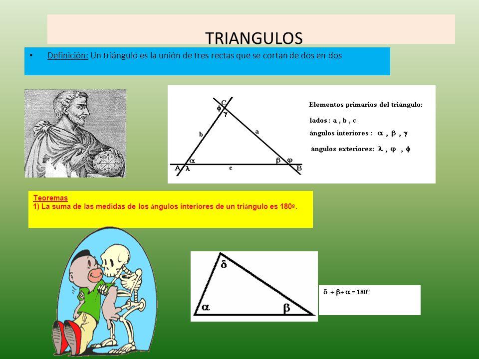 TRIANGULOS Definición: Un triángulo es la unión de tres rectas que se cortan de dos en dos. Teoremas.