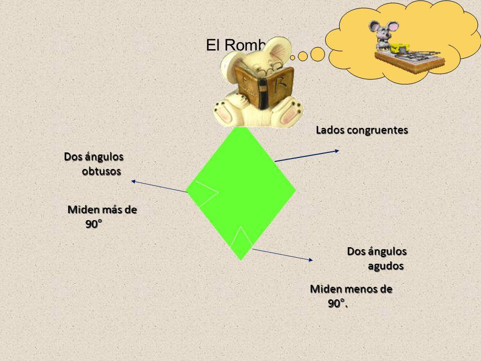 El Rombo Lados congruentes Dos ángulos obtusos Miden más de 90°