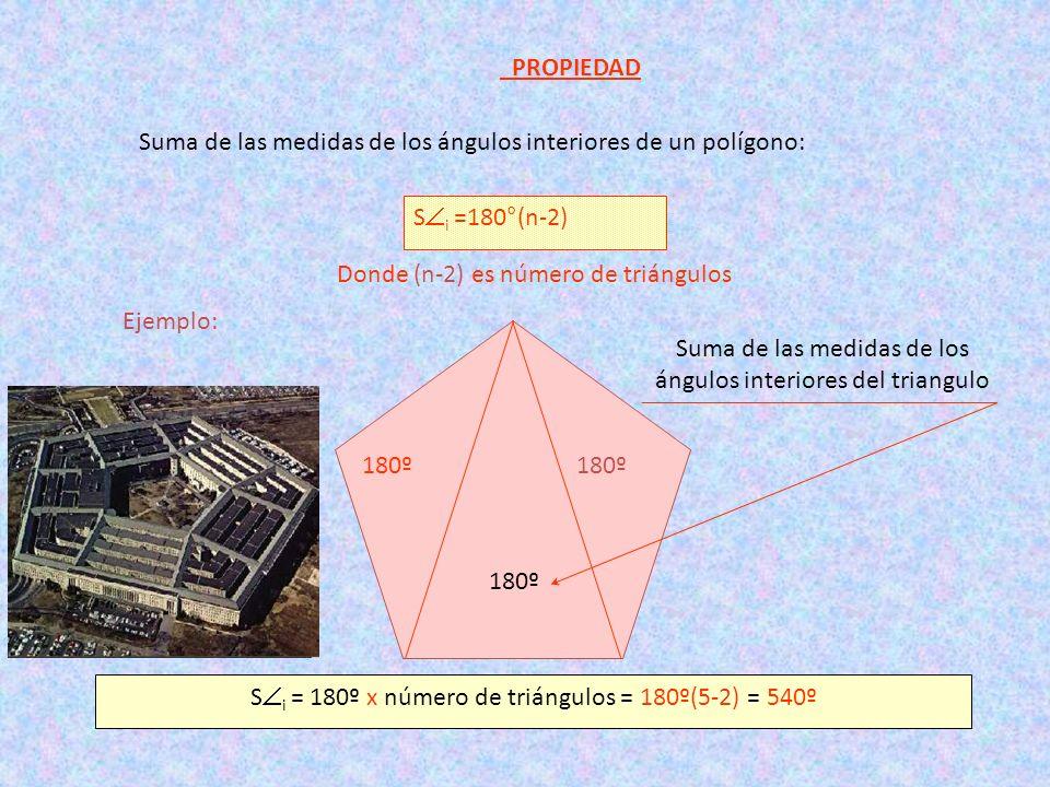 Suma de las medidas de los ángulos interiores de un polígono: