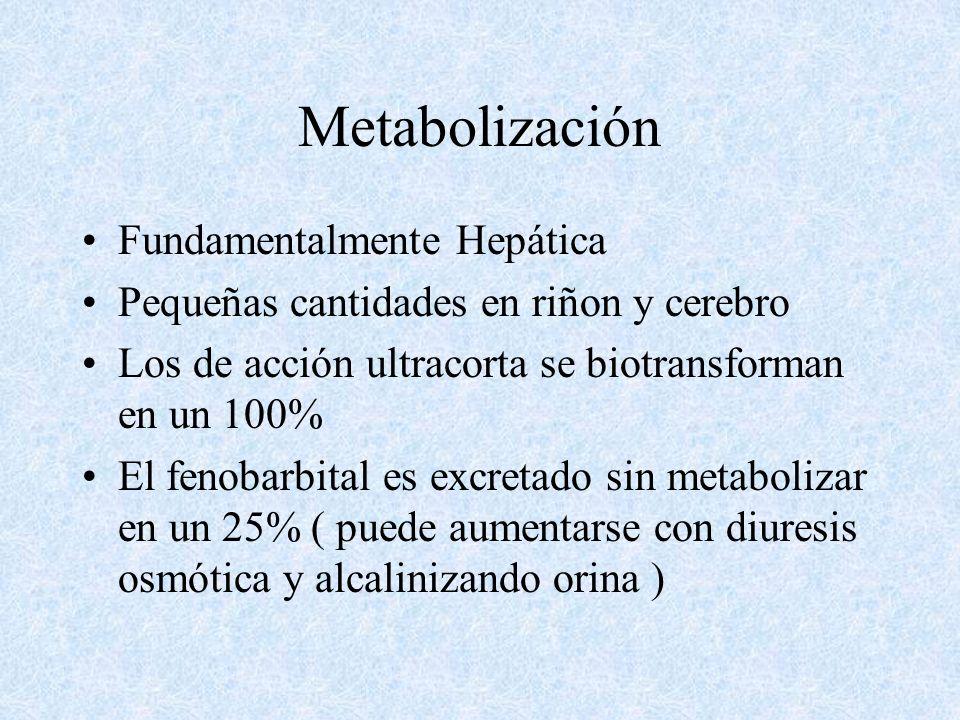 Metabolización Fundamentalmente Hepática