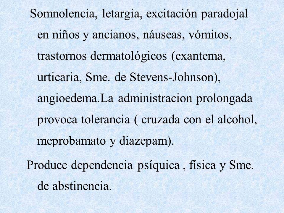 Somnolencia, letargia, excitación paradojal en niños y ancianos, náuseas, vómitos, trastornos dermatológicos (exantema, urticaria, Sme. de Stevens-Johnson), angioedema.La administracion prolongada provoca tolerancia ( cruzada con el alcohol, meprobamato y diazepam).