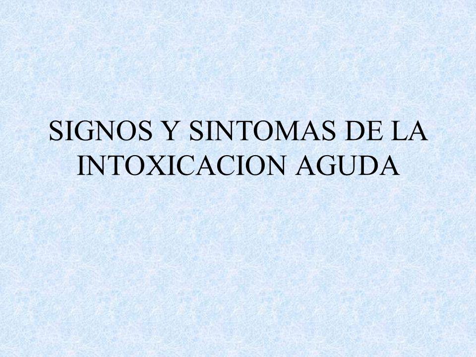 SIGNOS Y SINTOMAS DE LA INTOXICACION AGUDA