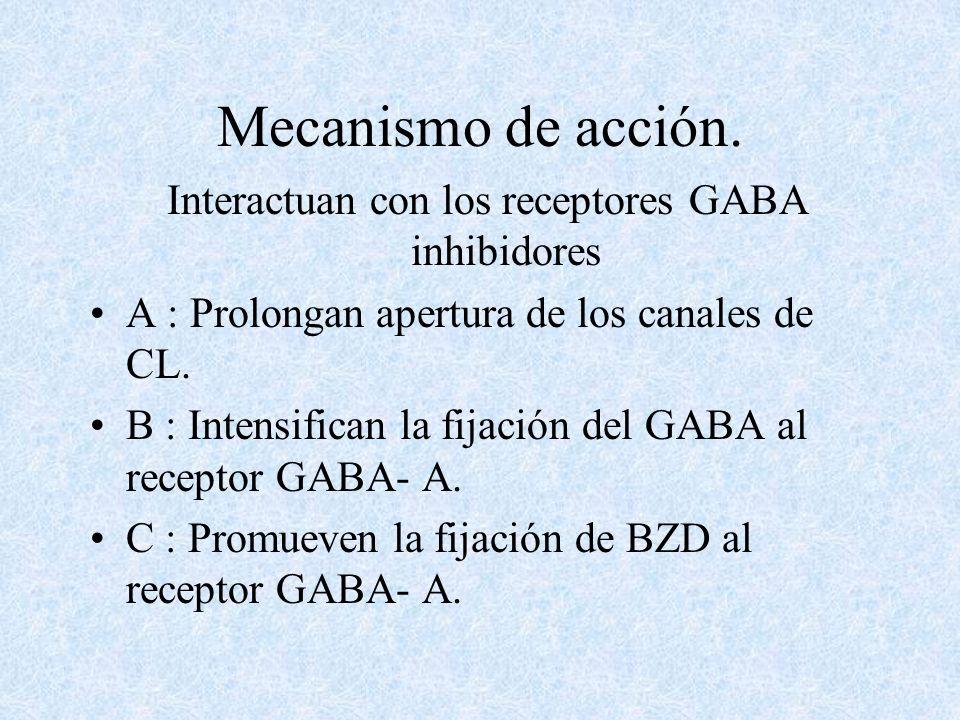 Interactuan con los receptores GABA inhibidores
