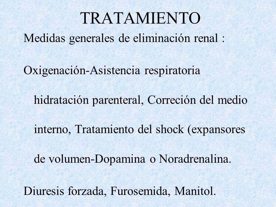 TRATAMIENTO Medidas generales de eliminación renal :