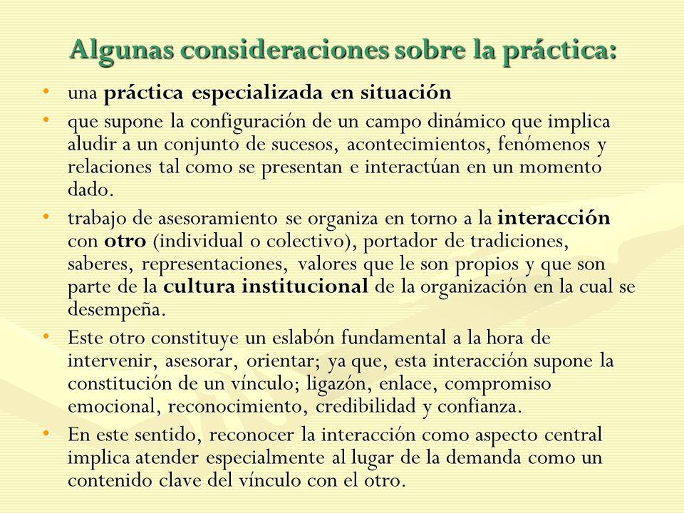 Algunas consideraciones sobre la práctica: