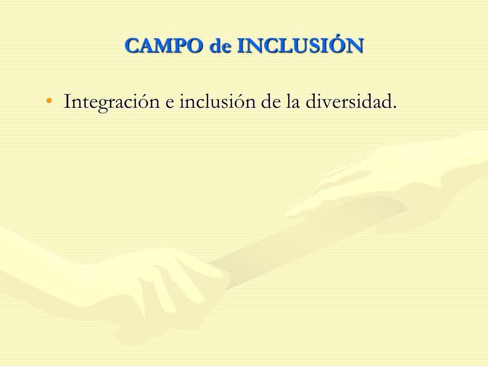 CAMPO de INCLUSIÓN Integración e inclusión de la diversidad.