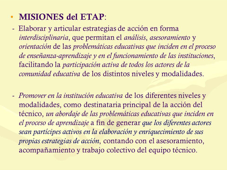 MISIONES del ETAP: