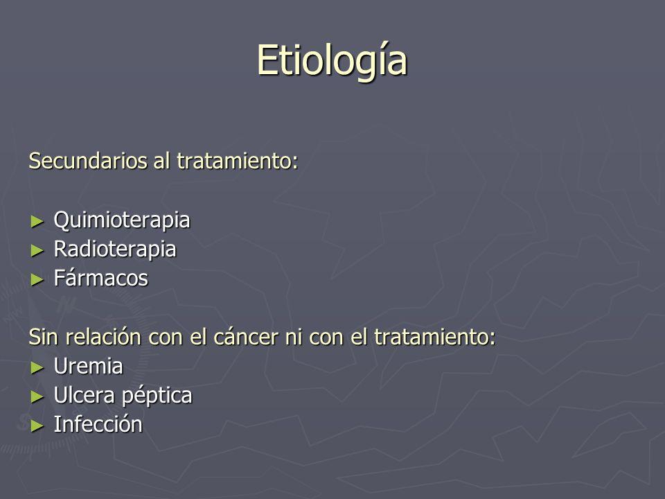 Etiología Secundarios al tratamiento: Quimioterapia Radioterapia
