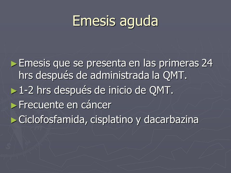 Emesis aguda Emesis que se presenta en las primeras 24 hrs después de administrada la QMT. 1-2 hrs después de inicio de QMT.