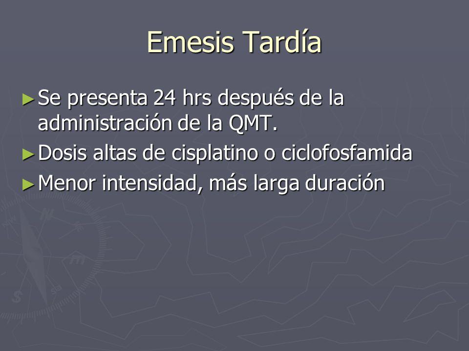 Emesis Tardía Se presenta 24 hrs después de la administración de la QMT. Dosis altas de cisplatino o ciclofosfamida.