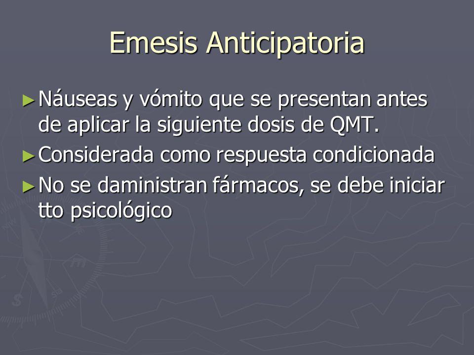 Emesis Anticipatoria Náuseas y vómito que se presentan antes de aplicar la siguiente dosis de QMT. Considerada como respuesta condicionada.