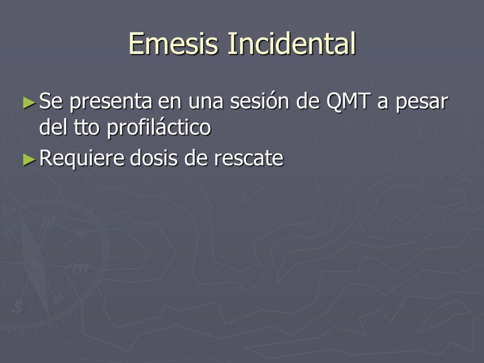 Emesis Incidental Se presenta en una sesión de QMT a pesar del tto profiláctico.