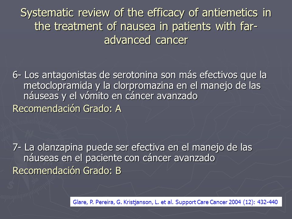 Systematic review of the efficacy of antiemetics in the treatment of nausea in patients with far-advanced cancer