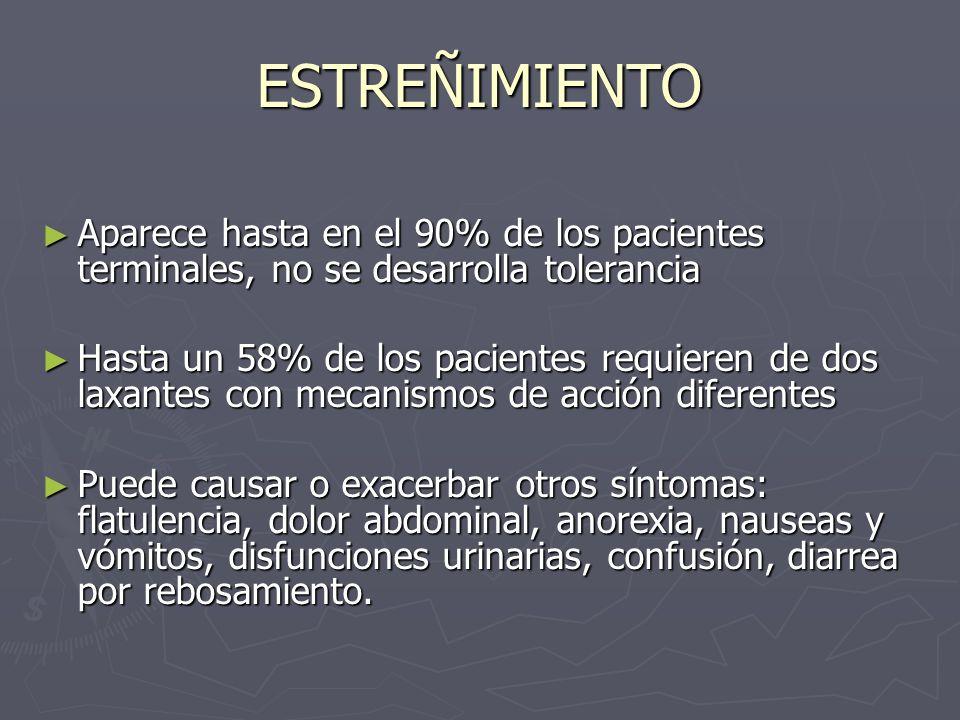 ESTREÑIMIENTO Aparece hasta en el 90% de los pacientes terminales, no se desarrolla tolerancia.