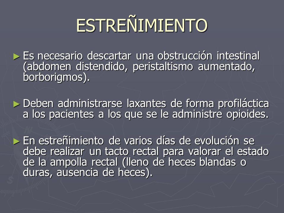 ESTREÑIMIENTO Es necesario descartar una obstrucción intestinal (abdomen distendido, peristaltismo aumentado, borborigmos).