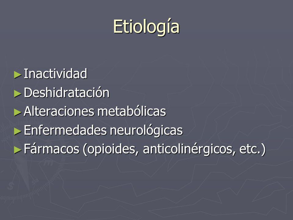 Etiología Inactividad Deshidratación Alteraciones metabólicas