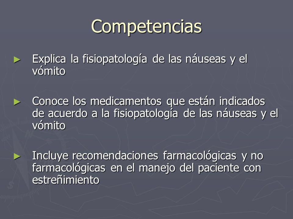 Competencias Explica la fisiopatología de las náuseas y el vómito