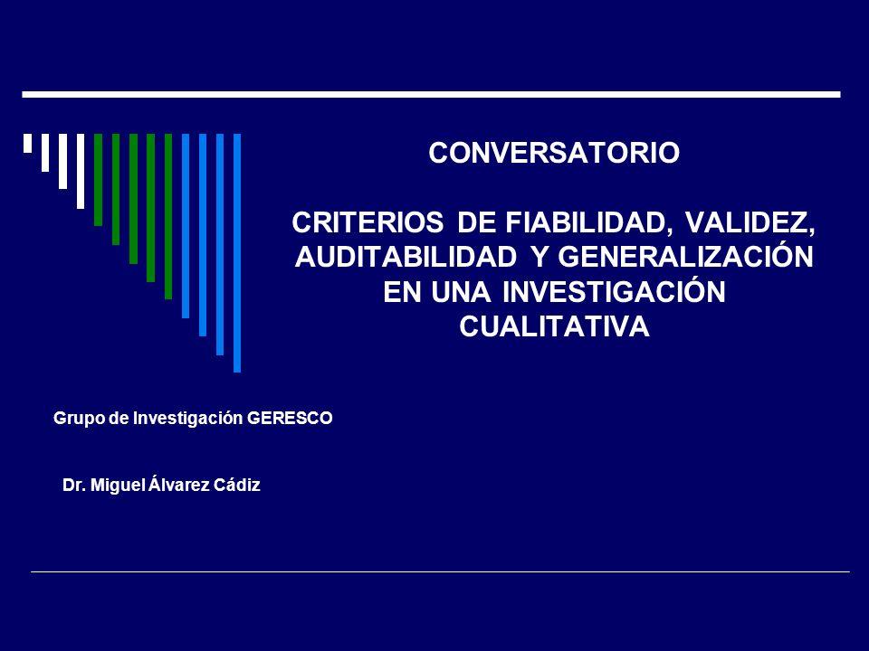 Grupo de Investigación GERESCO Dr. Miguel Álvarez Cádiz