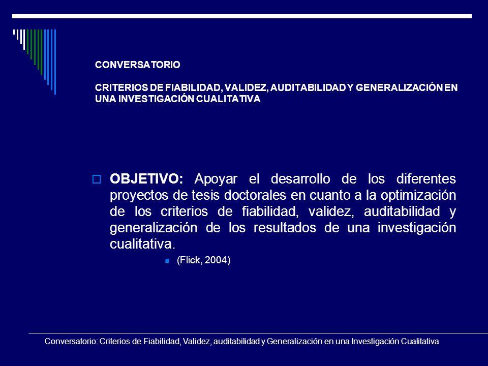 CONVERSATORIO CRITERIOS DE FIABILIDAD, VALIDEZ, AUDITABILIDAD Y GENERALIZACIÓN EN UNA INVESTIGACIÓN CUALITATIVA