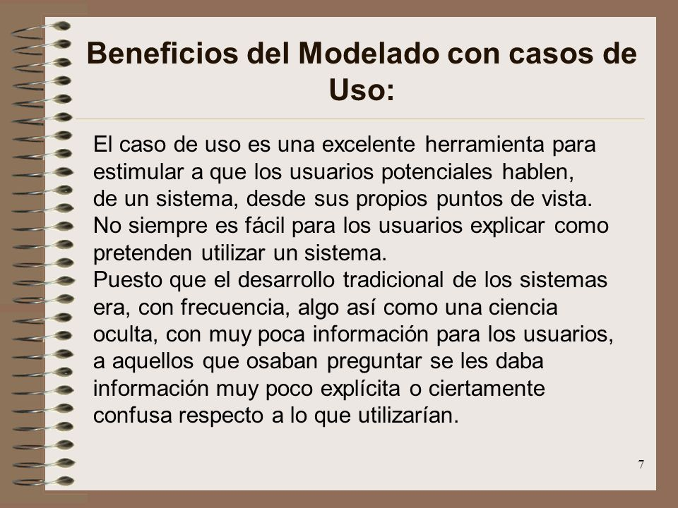 Beneficios del Modelado con casos de Uso: