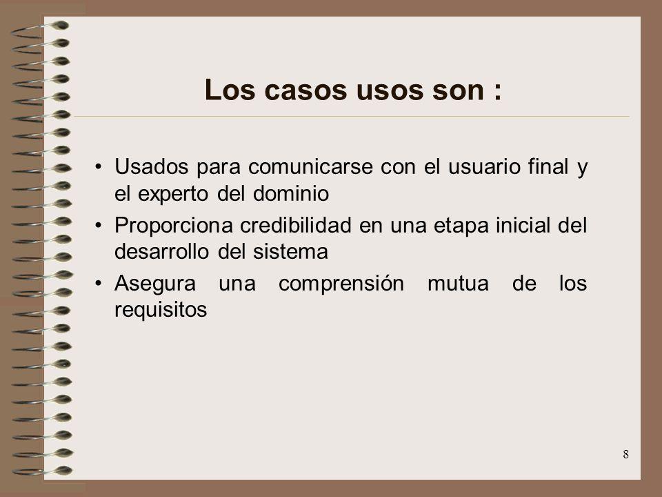 Los casos usos son : Usados para comunicarse con el usuario final y el experto del dominio.