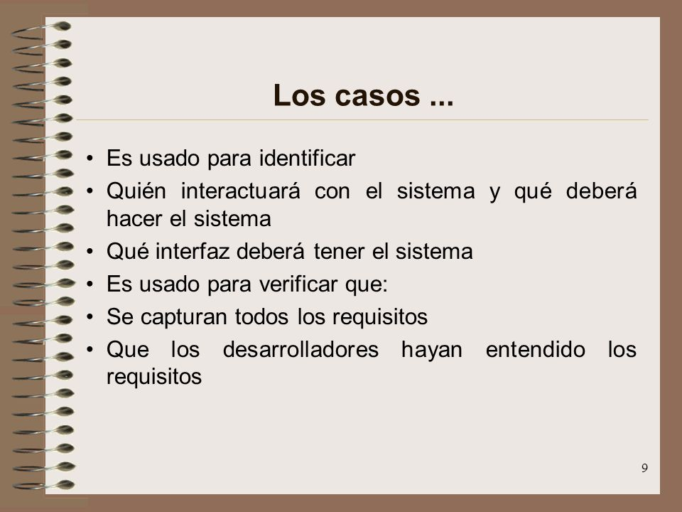 Los casos ... Es usado para identificar