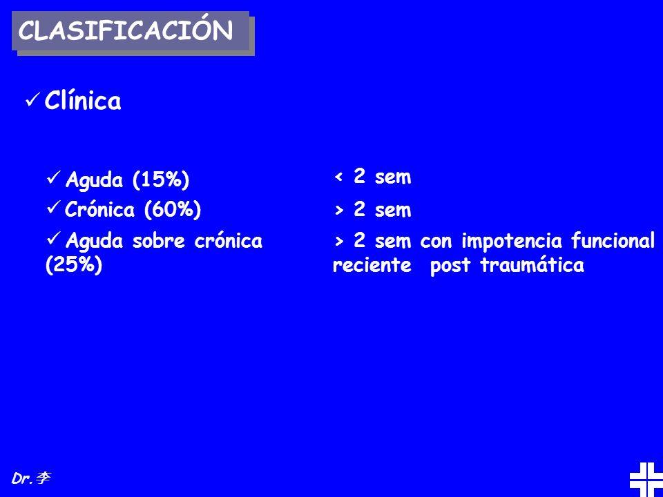 CLASIFICACIÓN Clínica Aguda (15%) Crónica (60%)