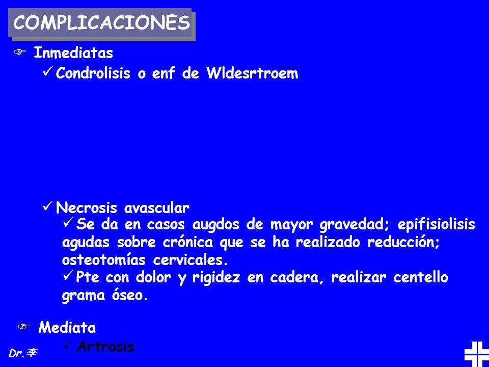 COMPLICACIONES Inmediatas Condrolisis o enf de Wldesrtroem