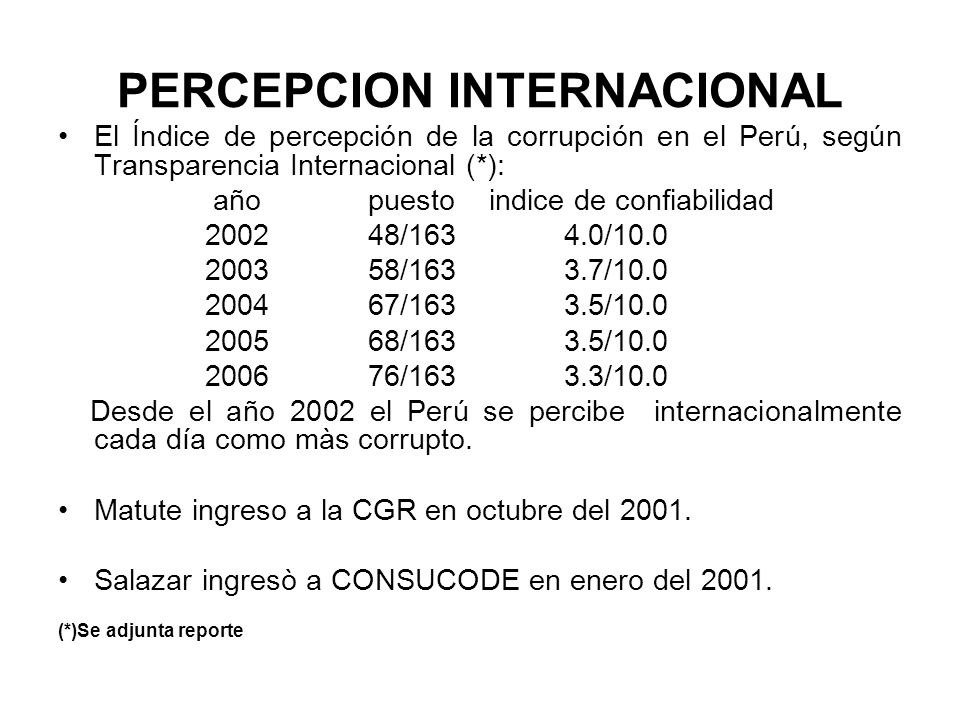 PERCEPCION INTERNACIONAL