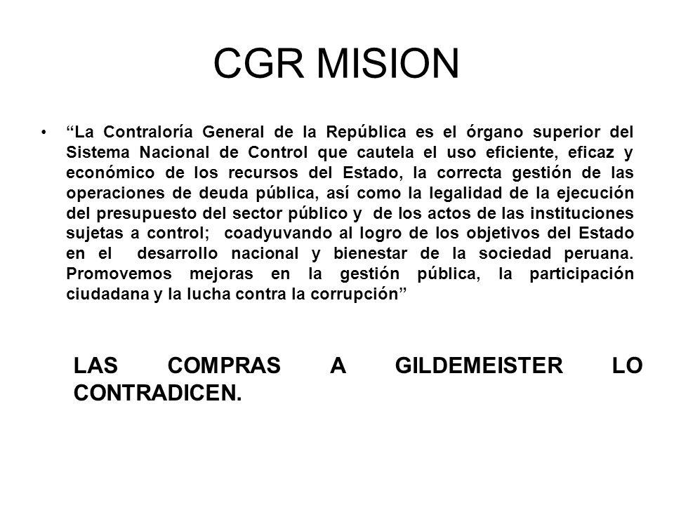 CGR MISION LAS COMPRAS A GILDEMEISTER LO CONTRADICEN.