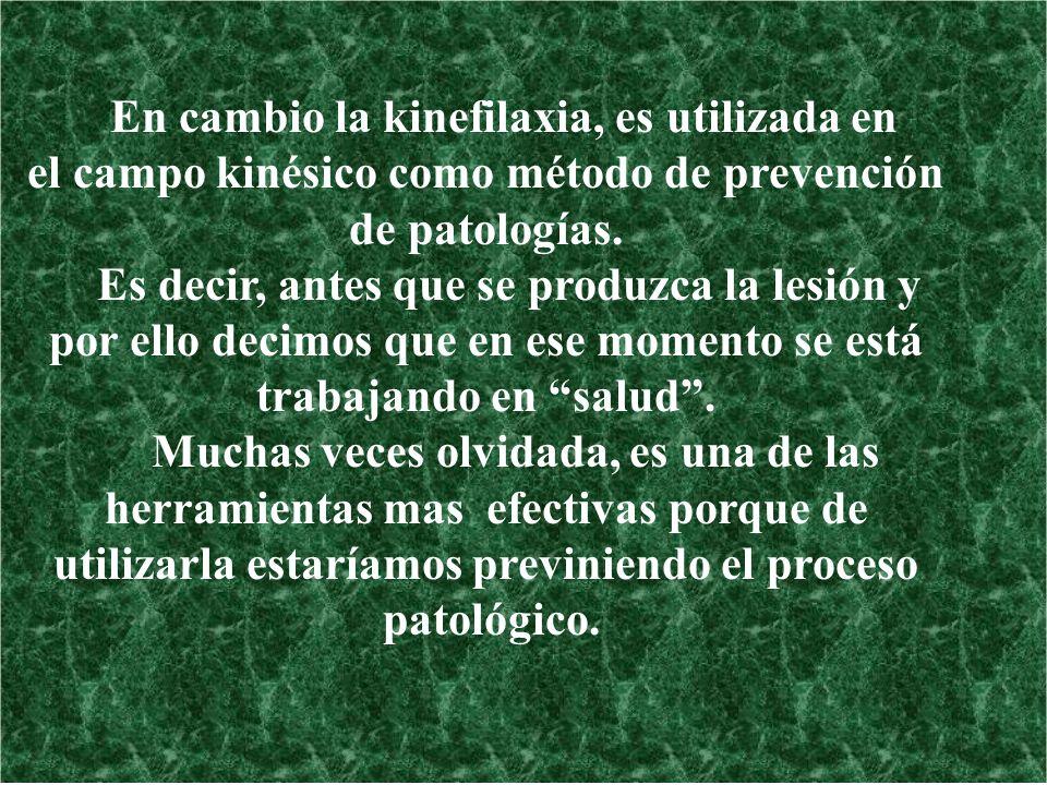 En cambio la kinefilaxia, es utilizada en
