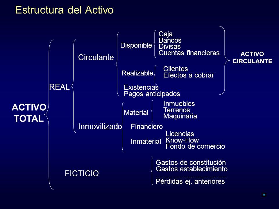 Estructura del Activo ACTIVO TOTAL Circulante REAL Inmovilizado