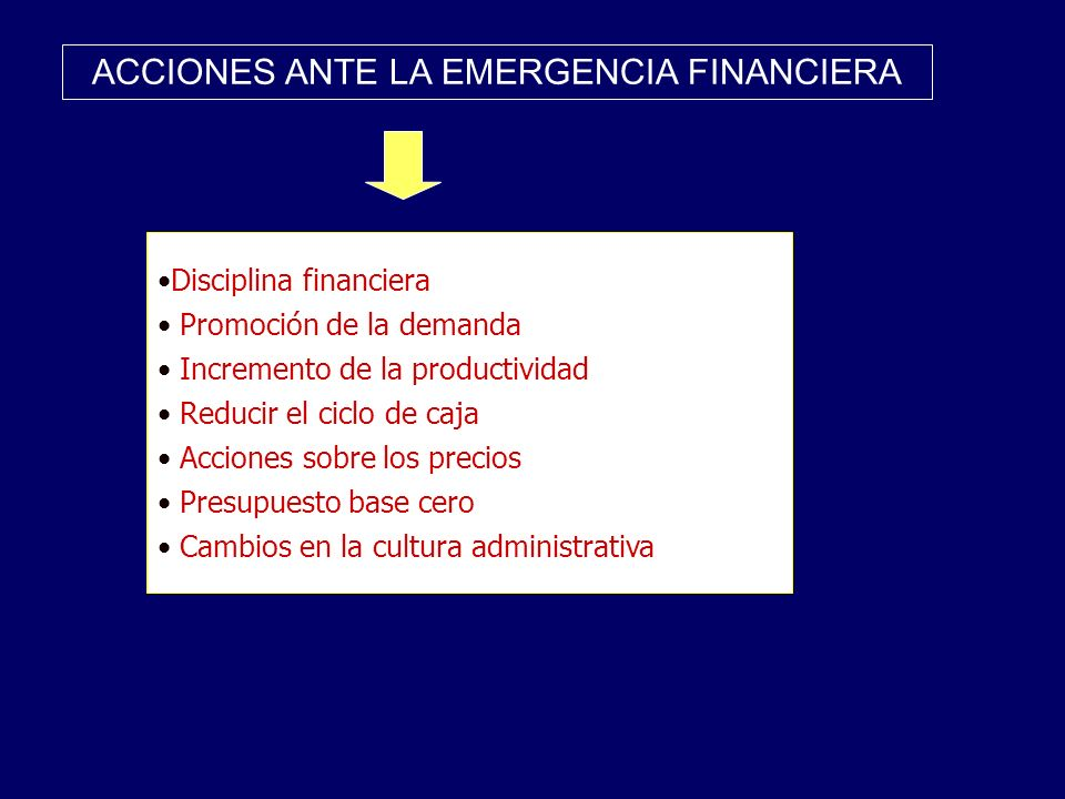 ACCIONES ANTE LA EMERGENCIA FINANCIERA