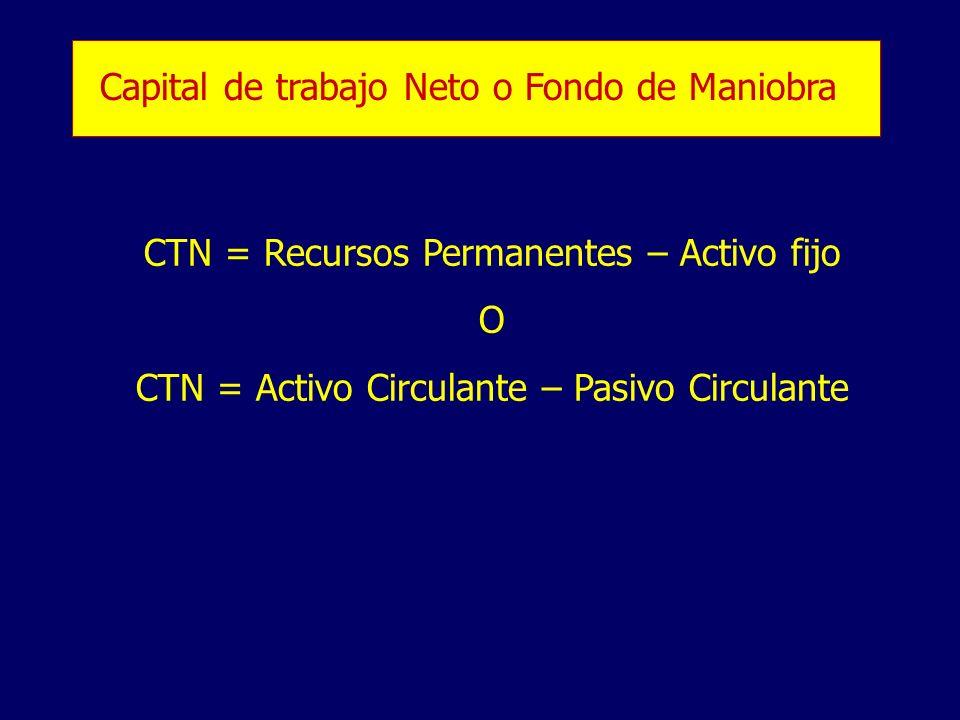 Capital de trabajo Neto o Fondo de Maniobra