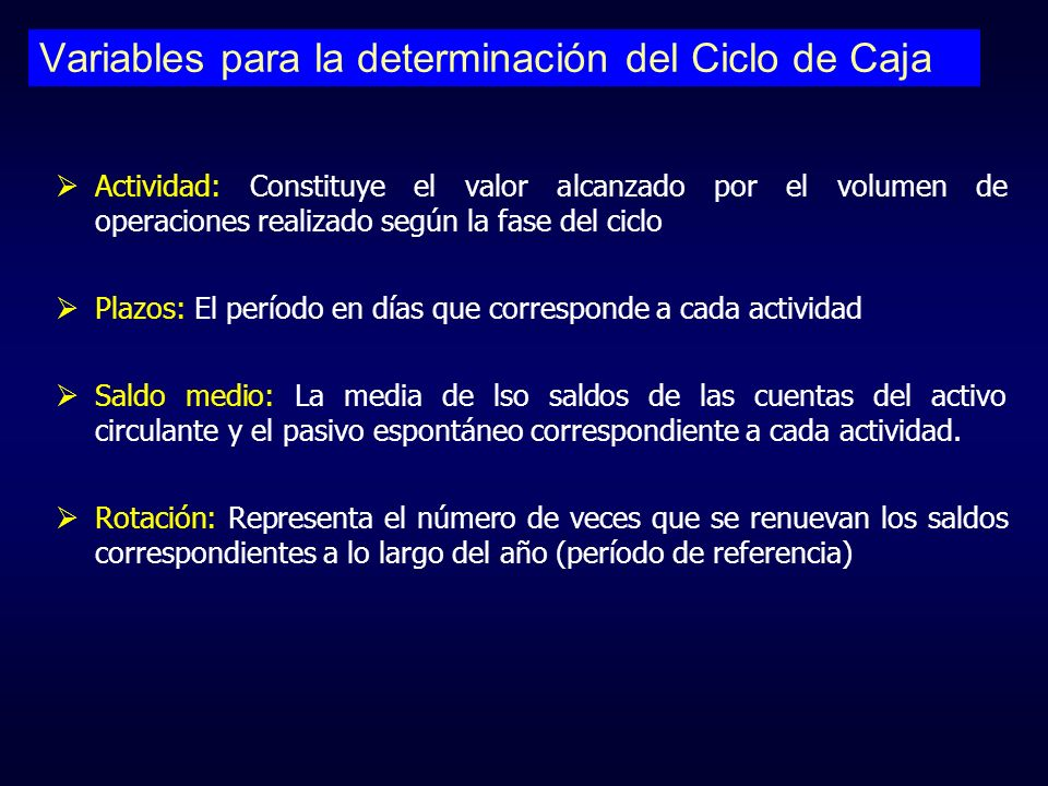 Variables para la determinación del Ciclo de Caja