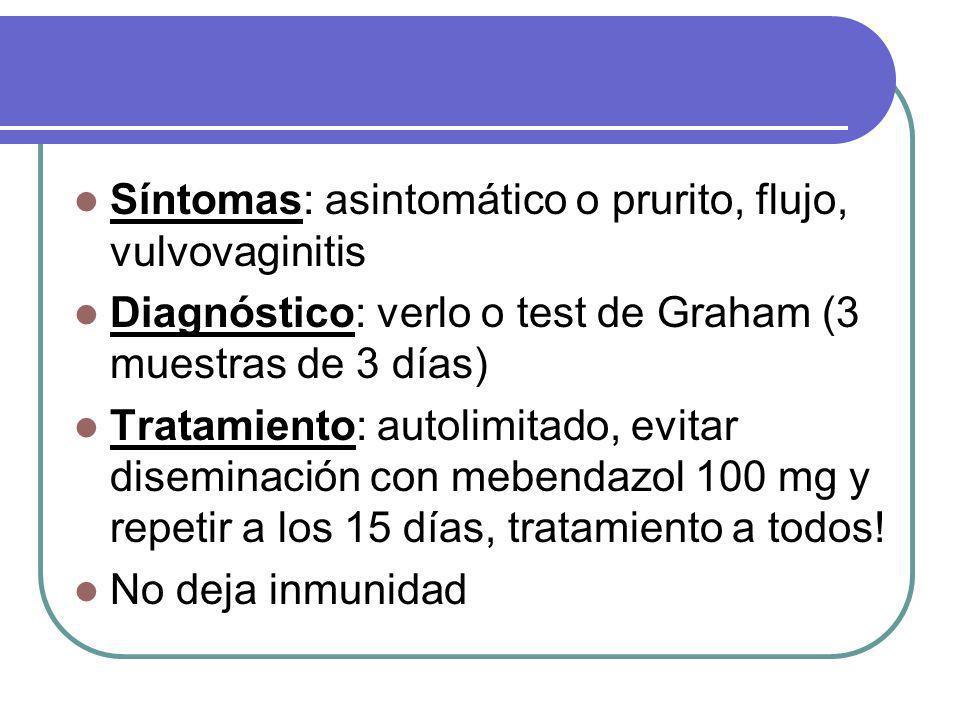 Síntomas: asintomático o prurito, flujo, vulvovaginitis