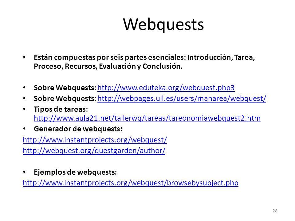 Webquests Están compuestas por seis partes esenciales: Introducción, Tarea, Proceso, Recursos, Evaluación y Conclusión.