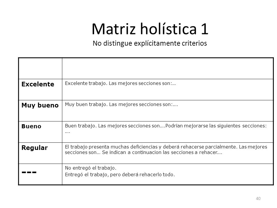 Matriz holística 1 No distingue explícitamente criterios