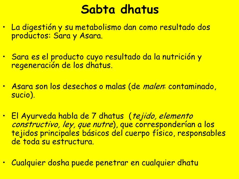 Sabta dhatus La digestión y su metabolismo dan como resultado dos productos: Sara y Asara.