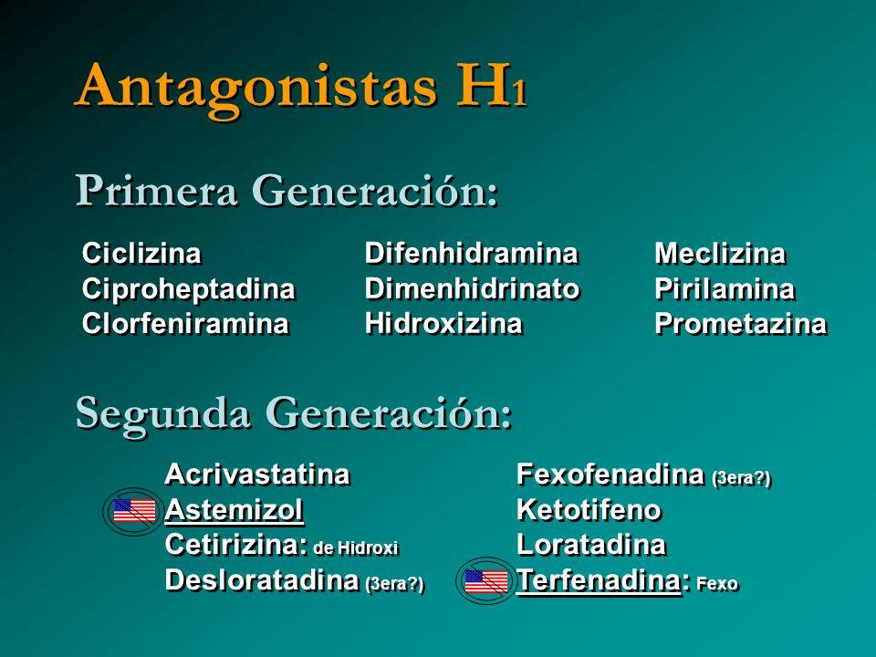 Antagonistas H1 Primera Generación: Segunda Generación: Ciclizina