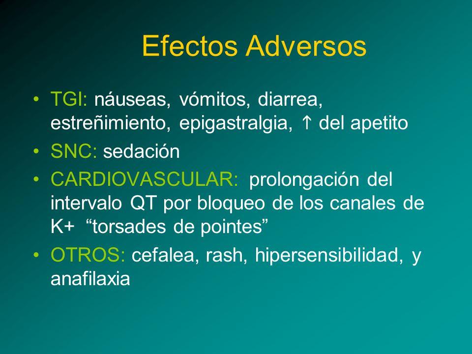 Efectos Adversos TGI: náuseas, vómitos, diarrea, estreñimiento, epigastralgia, h del apetito. SNC: sedación.